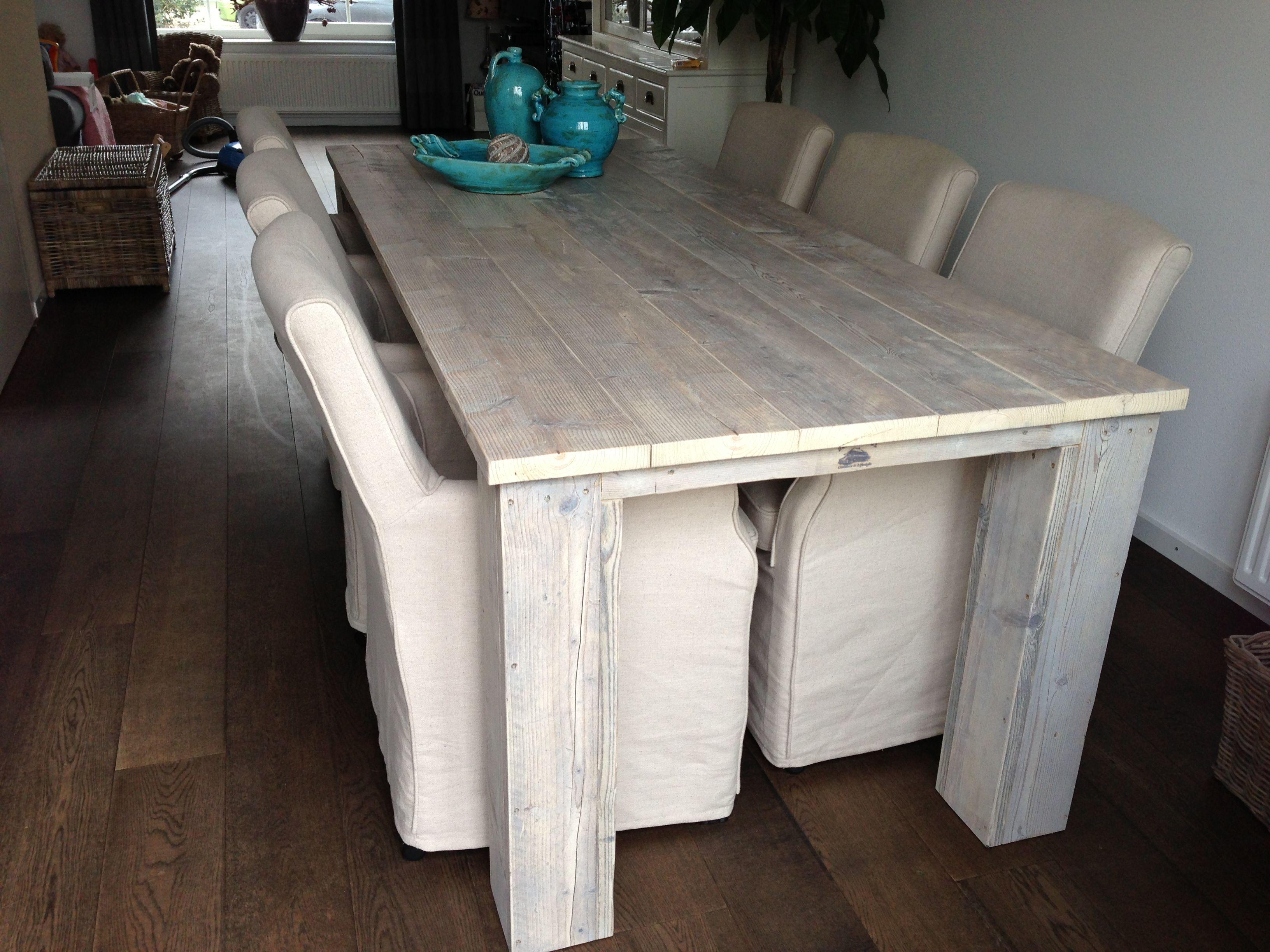 Eettafel White Wash.Tafel Van Oud Steigerhout Behandeld Met Twee X Whitewash Beits