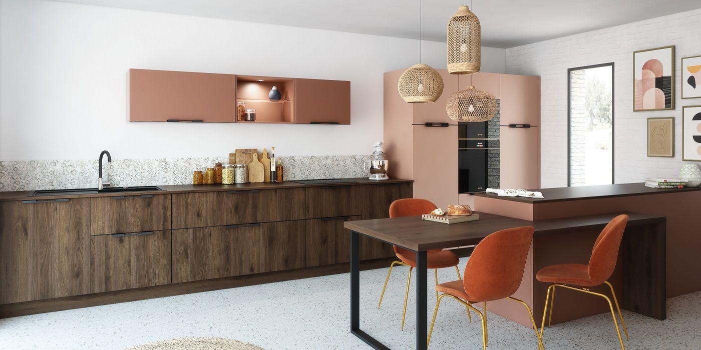 Cuisine Terracotta En 2020 Ilot Cuisine Meuble Cuisine Cuisine Moderne