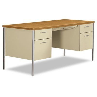 Hon Double Pedestal Desk 60 By 30 By 29 1 2 Inch Putty By Hon 484 38 High Quality Economical Steel Desking Double Pedestal Desk Steel Desk Home Kitchens
