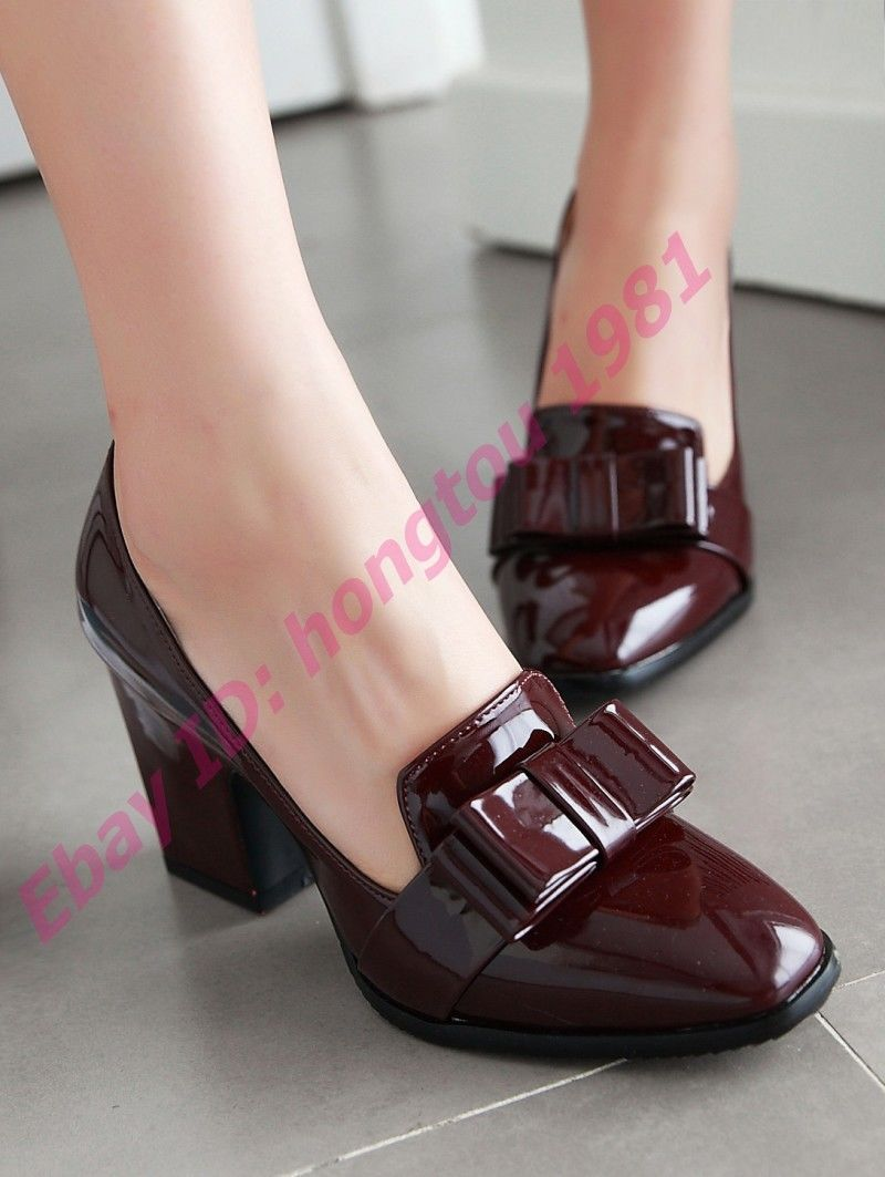 Womens Patent Leather Shoes Bowknot Slip On High Block Heels Pumps Stylish Size#