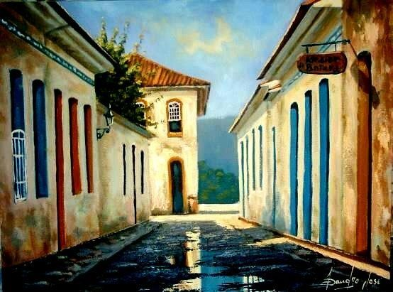 Casario - Pintura,  40x30 cm ©2005 por Sandro José Da Silva -                            Arte figurativa, casario óleo