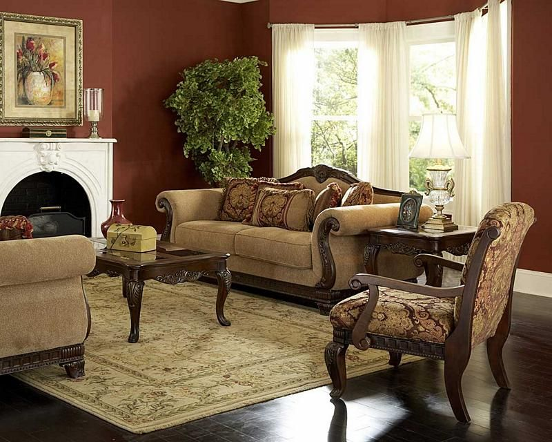 Old World Traditional Living Room Furniture Sofa Loveseat Set