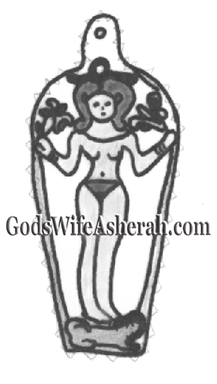 ~ Asherah as Vegetative Prosperity Goddess ~ Holding vegetative stalks, a crowned Asherah stands atop her signature lion on this bronze plaque/pendant.  Dating to ~1300 BCE, this is a depiction of Asherah in her aspect as Qds, a Vegetative Prosperity Goddess.
