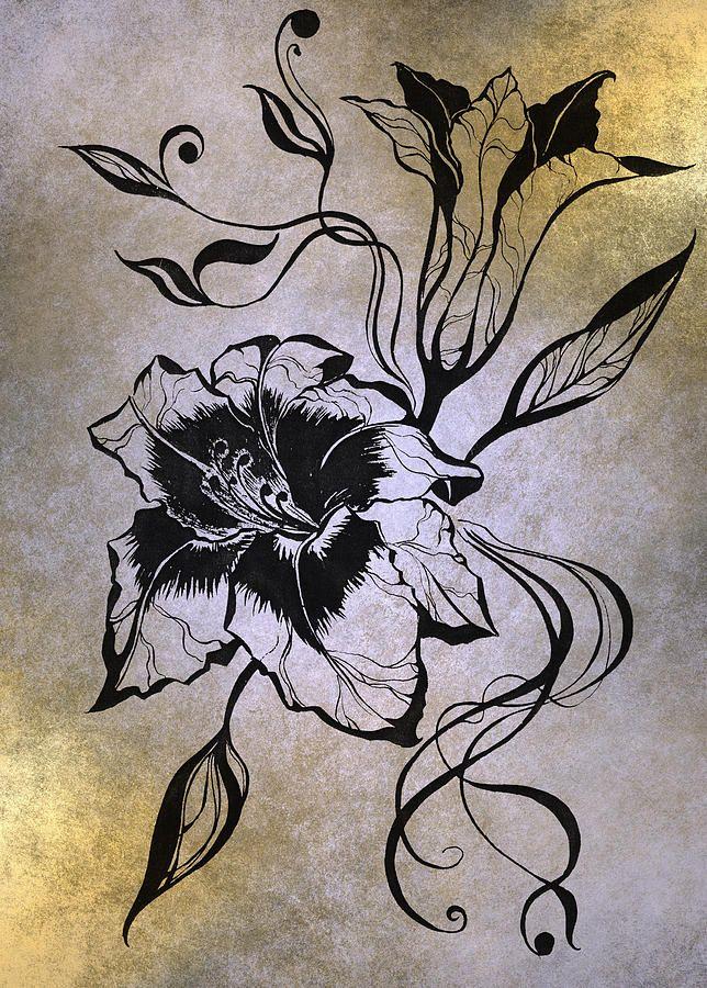 Lily Elegance. Golden by Jenny Rainbow