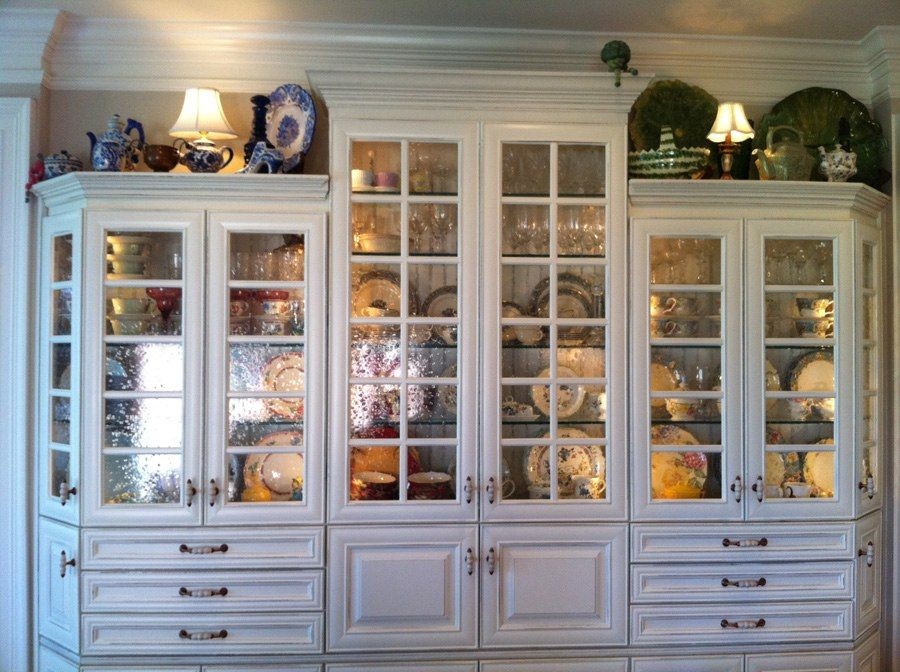 My Custom China Cabinet In My Kitchen. Shown Is 8 Complete Sets Of Dishes  Plus
