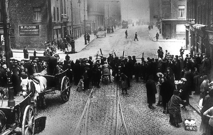 British police mount a roadblock to support a search in Dublin during the 1916 Easter Rising.