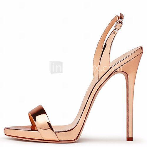 Mujer Zapatos Ante Verano Talón Descubierto Sandalias Tacón Stiletto Puntera abierta Hebilla Negro / Rojo / Rosa H3AYiSxJ2