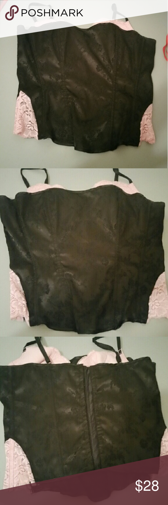 Fredrick of Hollywood black and pink boned corset Great condition. No rips stains or tears. Black corset with pink lace accents and bralette inside. Measures size 38. Good boning. Frederick's of Hollywood Intimates & Sleepwear Shapewear