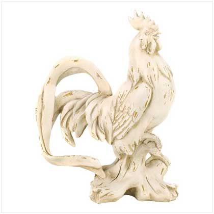 Delightful Weathered Ivory Rooster Statue