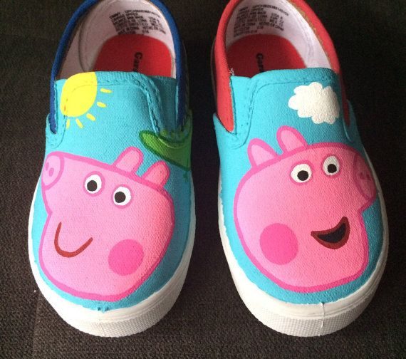 5e37d4c0550 Cute little shoes for your PEPPA PIG Fans!!! These hand painted shoes are  painted with acrylic paint and sprayed with acrylic protection spray.