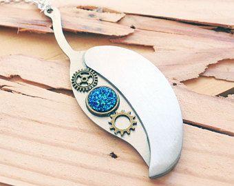 Silver Leaf Knife Necklace - Steampunk Knife Necklace - Druzy Necklace