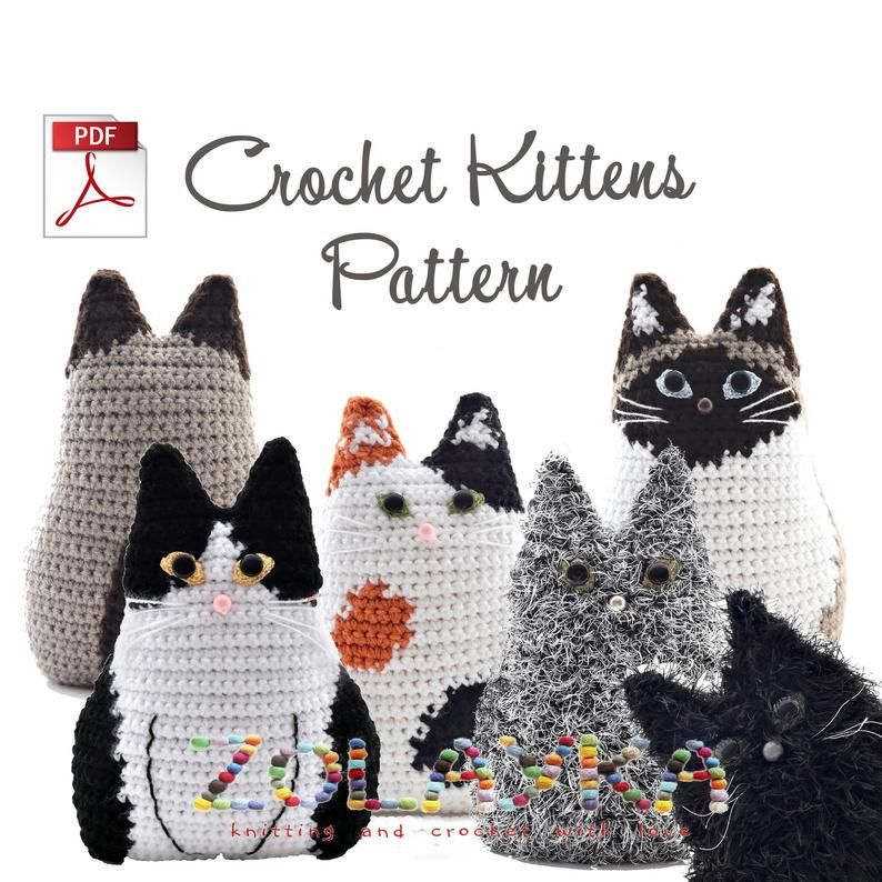 Cat Pillow Crochet Pattern Kitty Cushion Tutorial for 6+ Kittens, Stuffed Animal Pillow Easy and Fun Crochet Project, Cat lover Crochet idea