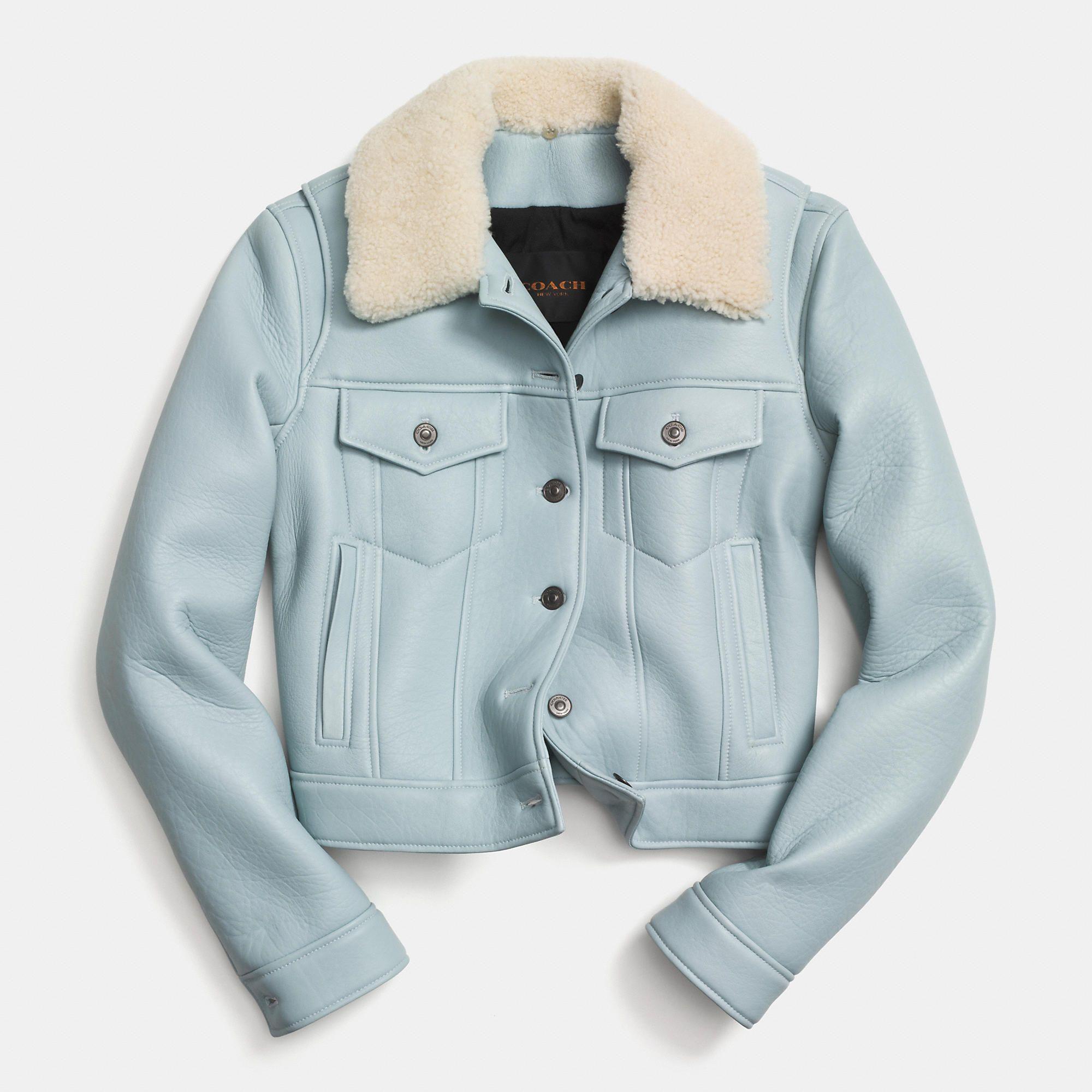 Coach LEATHER JEAN JACKET Blue leather jacket