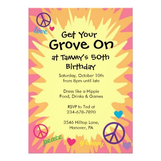 Groovy 60u0027s theme party invitations Groovy 60s Pinterest 60 s - fresh invitation for birthday party by email