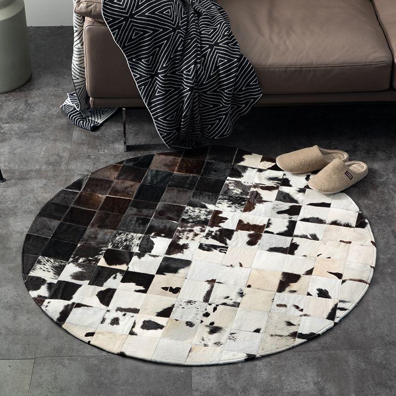 Forma rotonda naturale della pelle bovina seamed tappeto