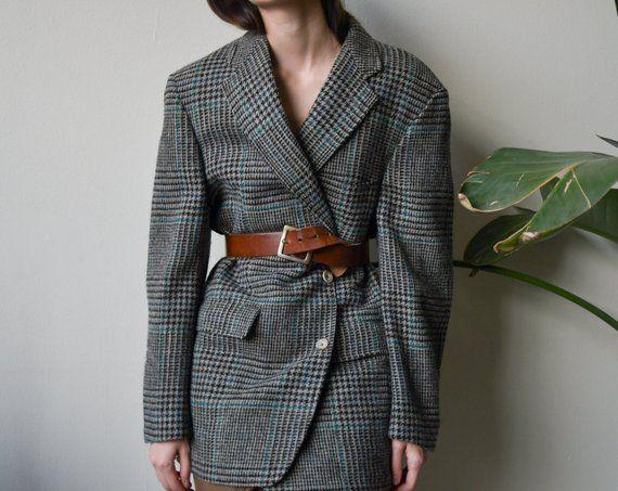 2ed64b49dbe 80s oversized wool check houndstooth blazer   boyfriend blazer   s   m   l    2601o