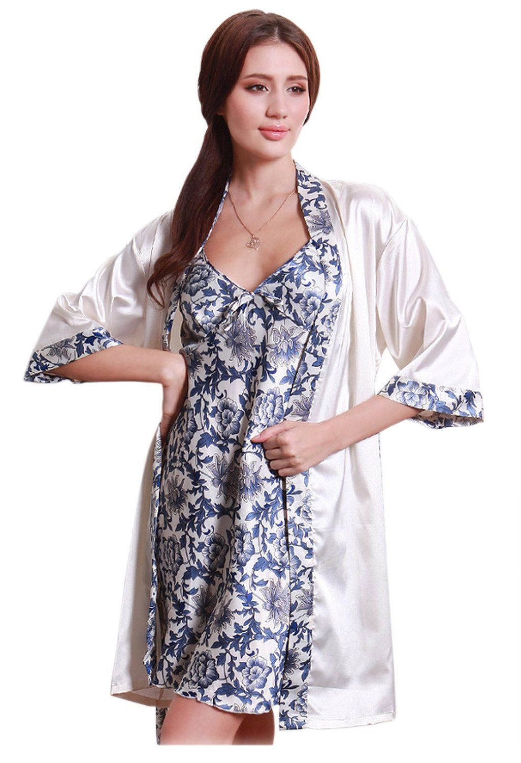 Amazon.com  Olivery 2pc Womens Faux Silk Sleepwear with Top   Crop Pants  Gorgeous Floral Nightgown Bath Pajamas Set  Clothing b0eb23319