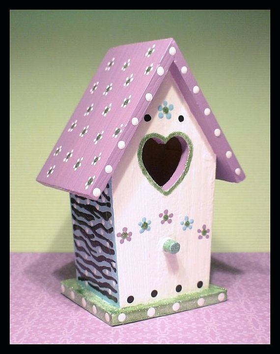 Small Birdhouse Lavender Hand Painted Birdhouse Etsy In 2021 Bird Houses Painted Decorative Bird Houses Birdhouse Craft