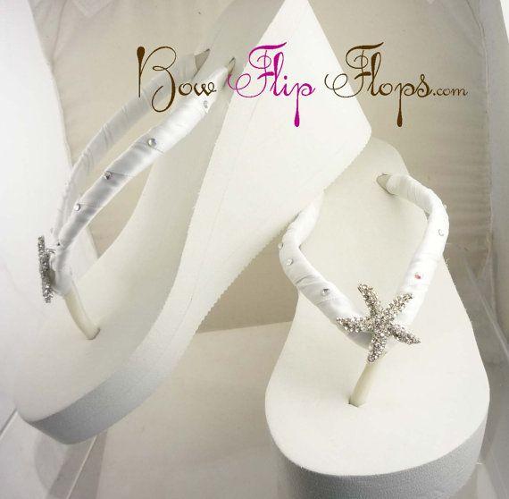 6432eb5ece6a Starfish bridal Wedge flip flops wedding flip flops for bride ...