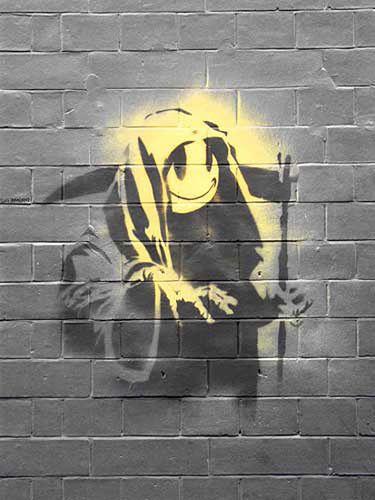 Banksy Sticker Decal vinyl graffiti street art car death happy face grim reaper
