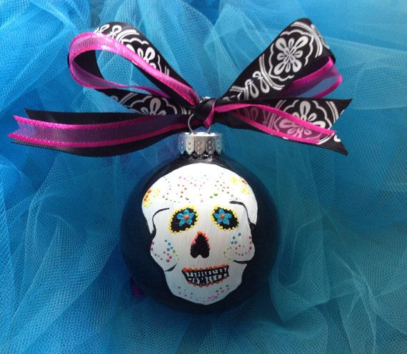 Sugar Skull Ornament- Day of the Dead- Ornaments- Christmas Ornament- Punk Rock on Etsy, $20.00