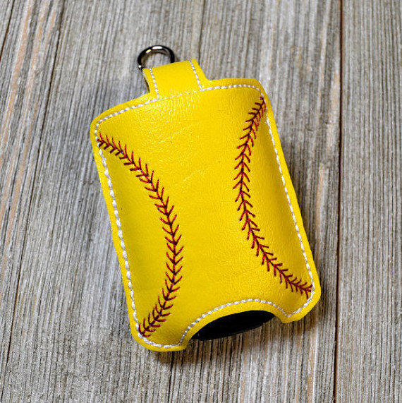 Softball Hand Sanitizer Holder Sports Bag Tag Sanitizer Key Fob