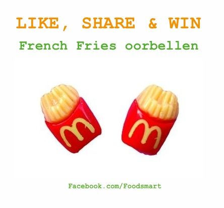 Facebook win actie i.s.m. @Foodsmart.nl   Like & Share de Facebook pagina van Foodsmart ( Facebook.com/Foodsmart ) & win deze Moschino inspired French Fries oorbellen.  Good luck!  Facebook.com/Foodsmart