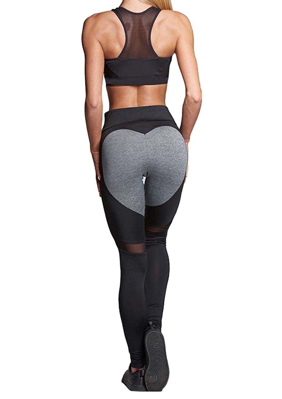 Womens Loving Heart Shape Yoga Pants Workout Sheer Mesh Leggings
