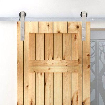Belleze Antique Country Sliding Barn Door Track Kit Finish: Stainless Steel