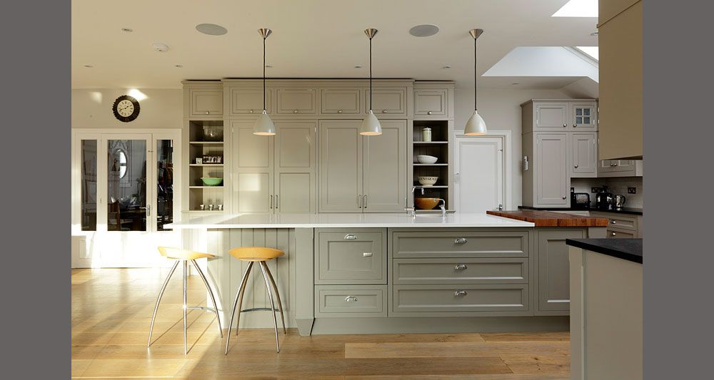 Richard Baker Furniture   Hampton Kitchen Pale Grey Cabinets And Light Work  Surface Accent Of Wood In Chopping Block Is This Shaker Or More Classical?