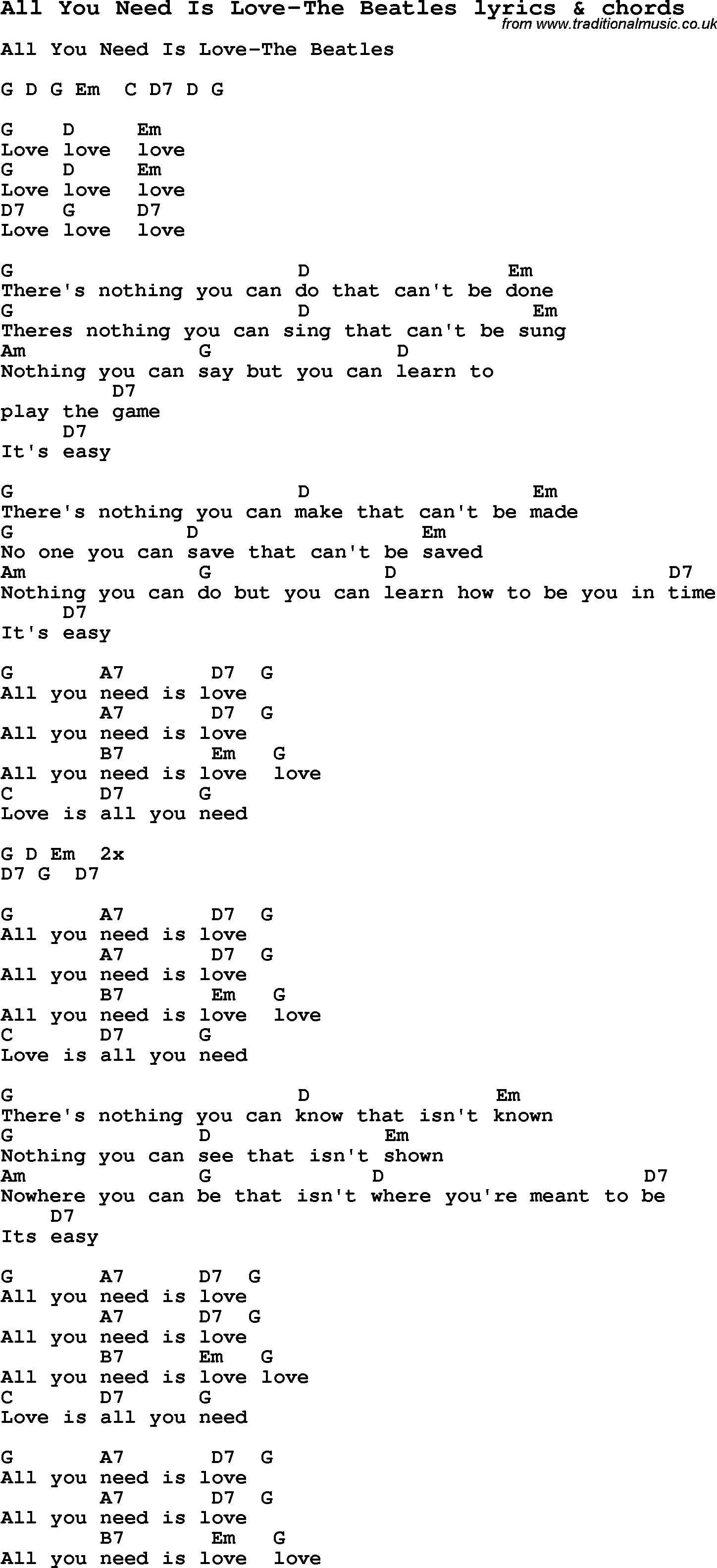 Love Song Lyrics For All You Need Is Love The Beatles With Chords