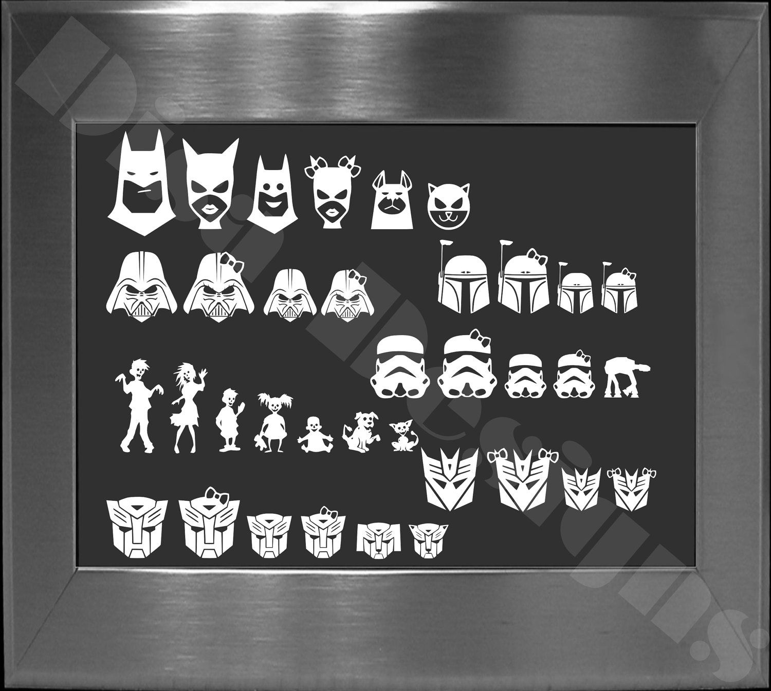 One Extra Batman Star Wars Zombie Or Transformer Inspired Family Member Vinyl Decal Please Read Descriptio Family Decals Vinyl Decals Special Occasion Gift [ 1345 x 1500 Pixel ]