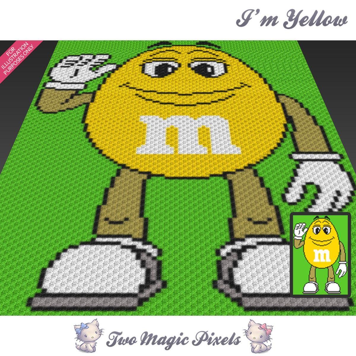 I\'m Yellow M&M C2C Crochet Graph | Cobija, Esquina y Manta