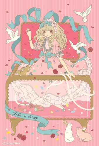 An Angelic Pretty illustration of a girl in a jewelry box by Imai