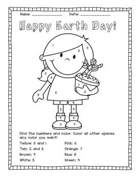 Earth Day Color by Number Activities Number activities Morning