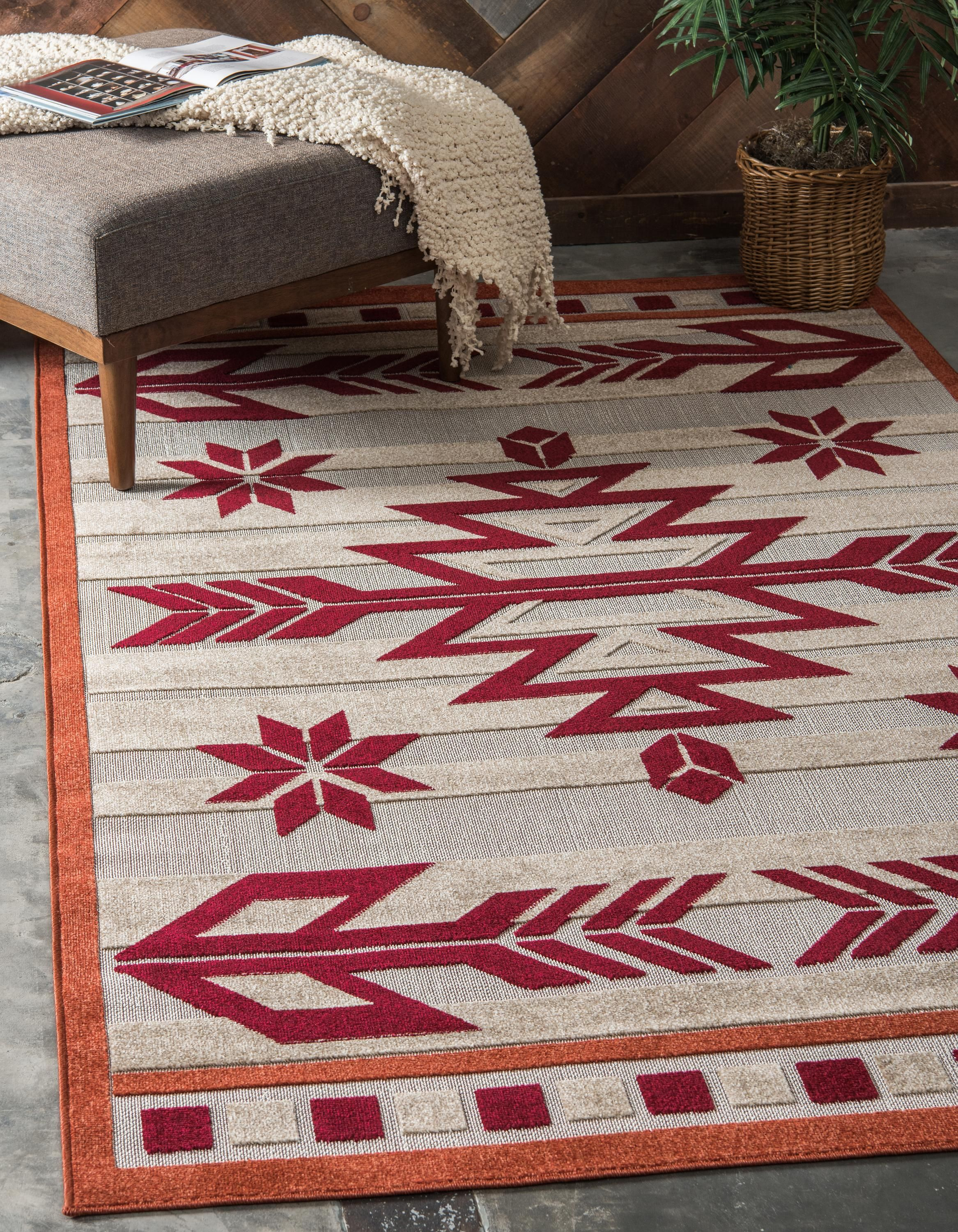 Burgundy 5 X 8 Transitional Indoor Outdoor Rug Area Rugs Irugs