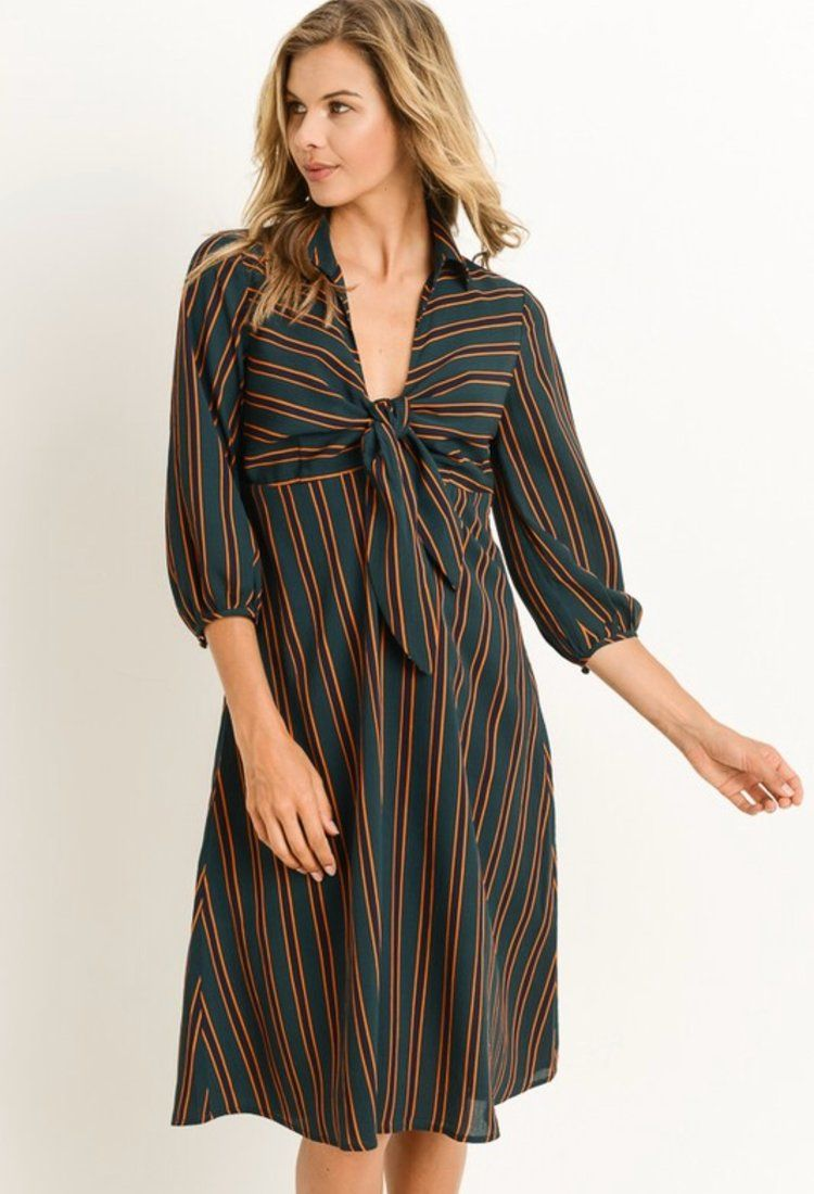 f797b865530d4 Laurie Striped Front Knot Dress