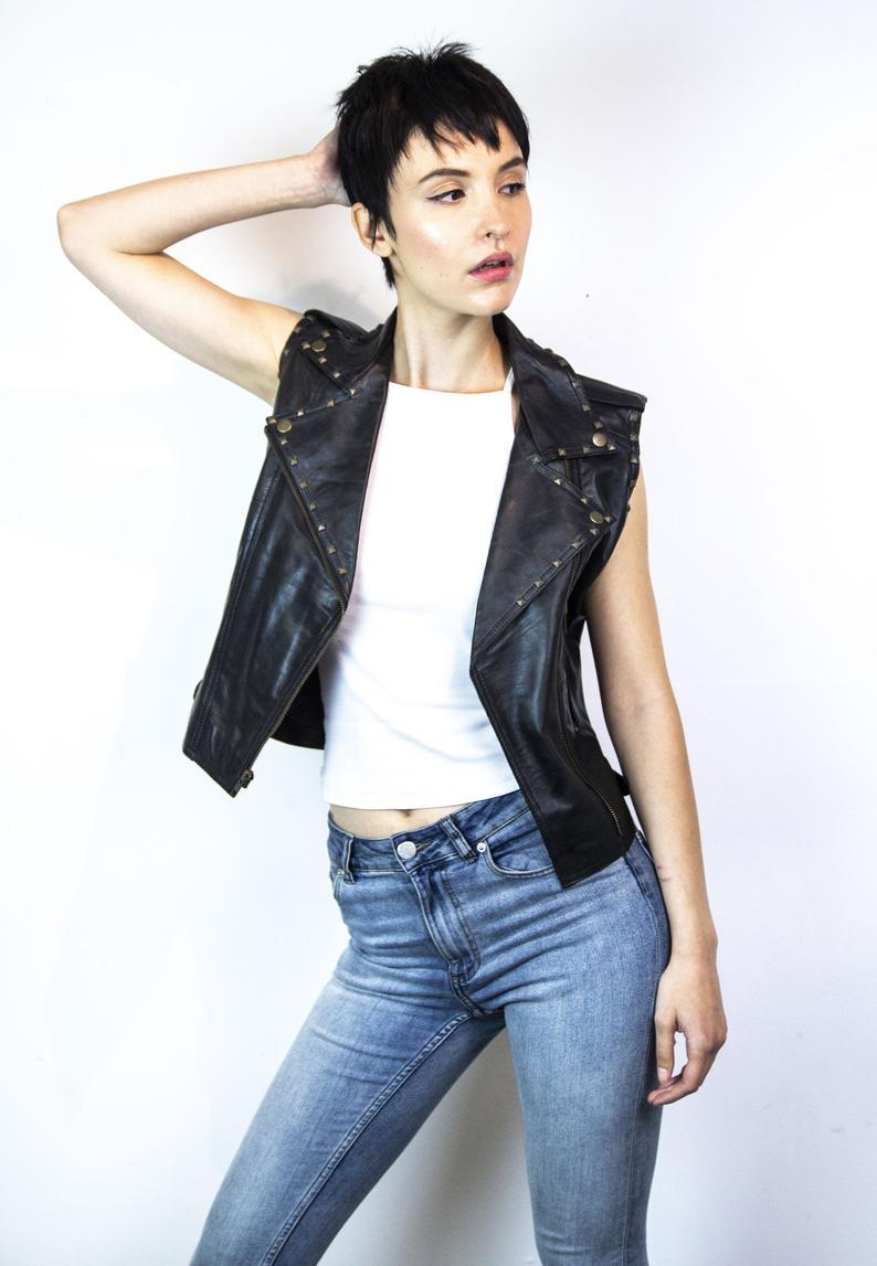 80 S Style Classic Sleeveless Leather Biker Jacket Etsy Studded Leather Jacket Jackets 80s Fashion [ 1147 x 794 Pixel ]