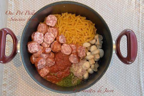 One pot pasta / saucisse fumée - Les recettes de Jacre/En toute simplicité #onepotpastarecettes