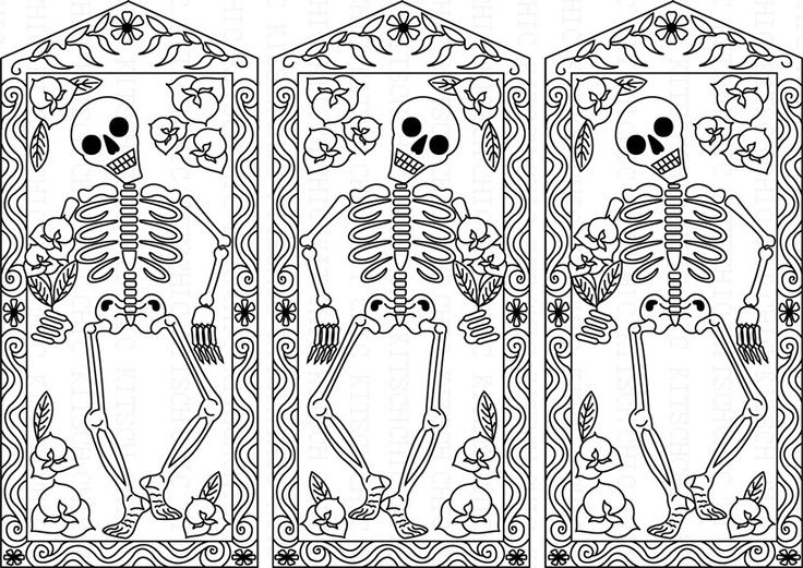 Day Of The Dead Skeletons Coloring Pages. day of the dead coloring pages printable free  Color Your Own Day The Dead Dancing
