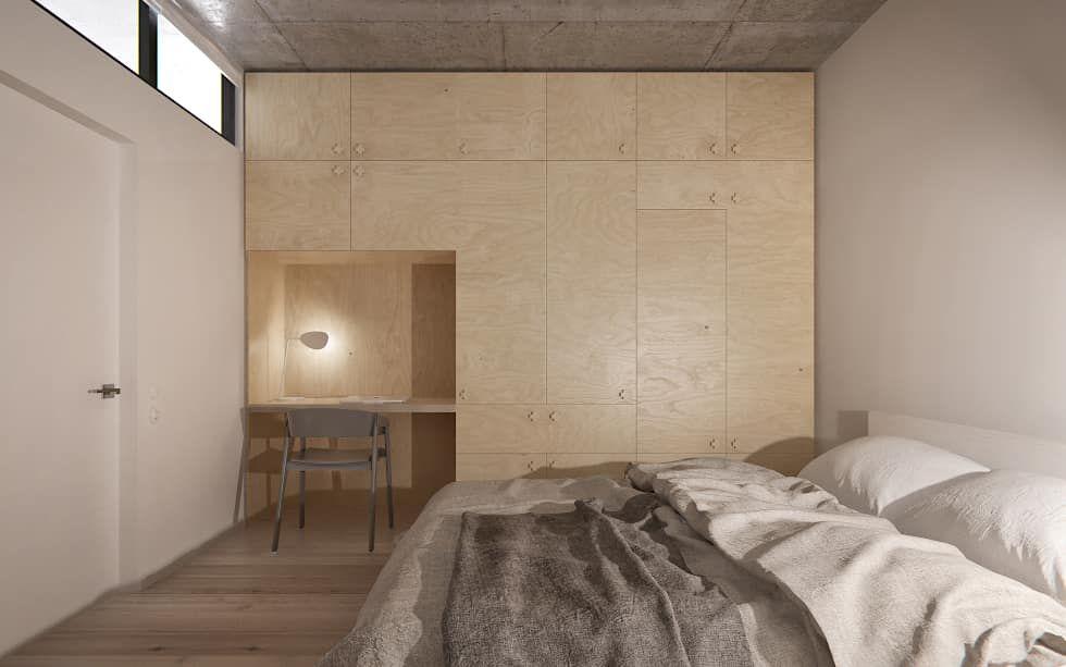 Kleine Minimalistische Slaapkamer : Fotos van een minimalistische slaapkamer door int2architecture