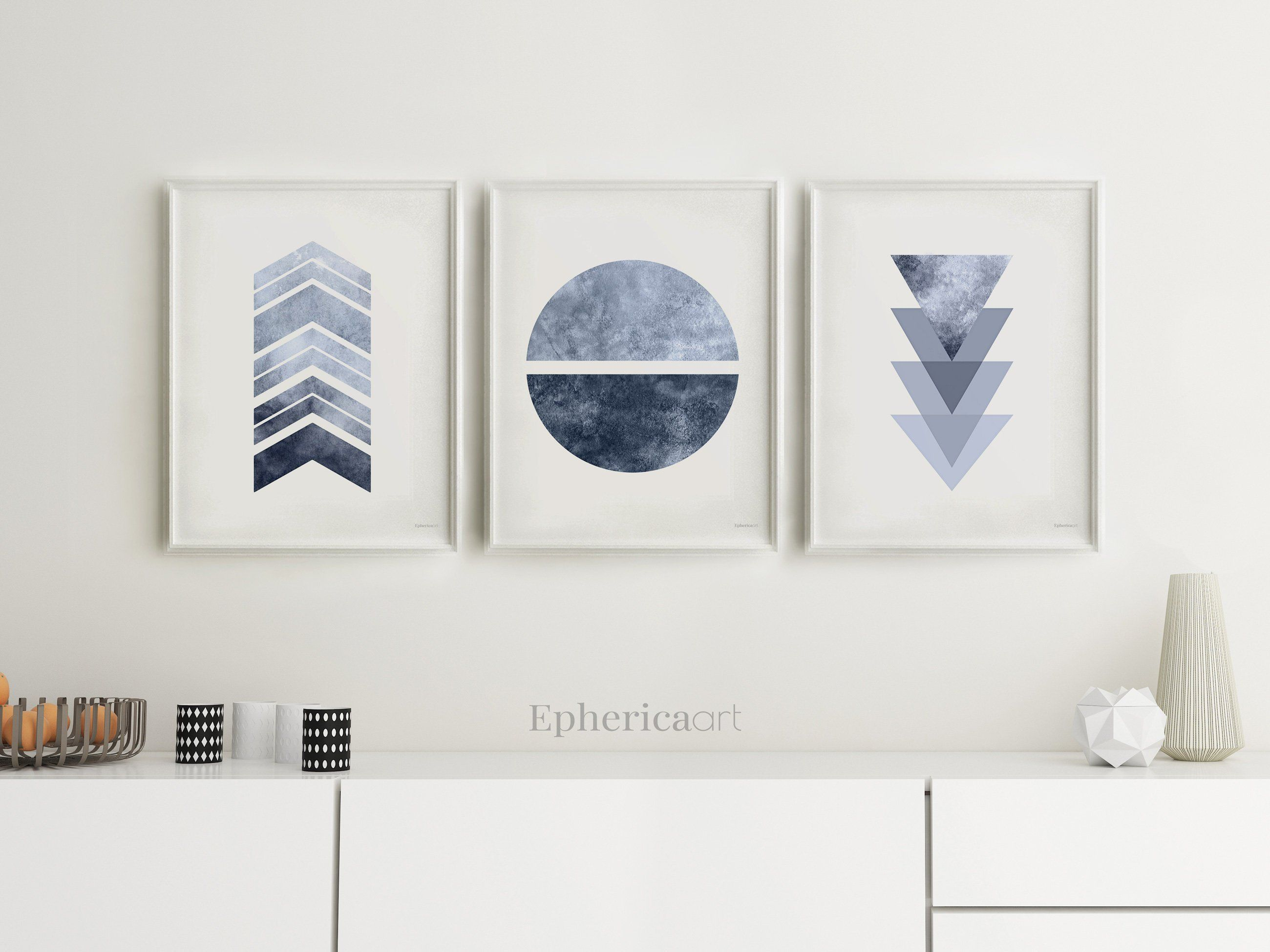Blue Gray Wall Art Trio Of Prints Modern Home Wall Decor Etsy Teal Wall Decor Grey Wall Art Geometric Wall Art