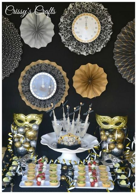 Gold Silver And Black Christmas Holiday Party Ideas Photo 3 Of 19 New Years Eve Decorations Diy New Years Party New Years Eve Party