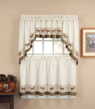 Amazon Com Wildlife Moose Lodge Brown Suede Ivory Curtain Kitchen Tier Set Home Kitchen Ivory Curtains Tier Curtains Kitchen Curtains