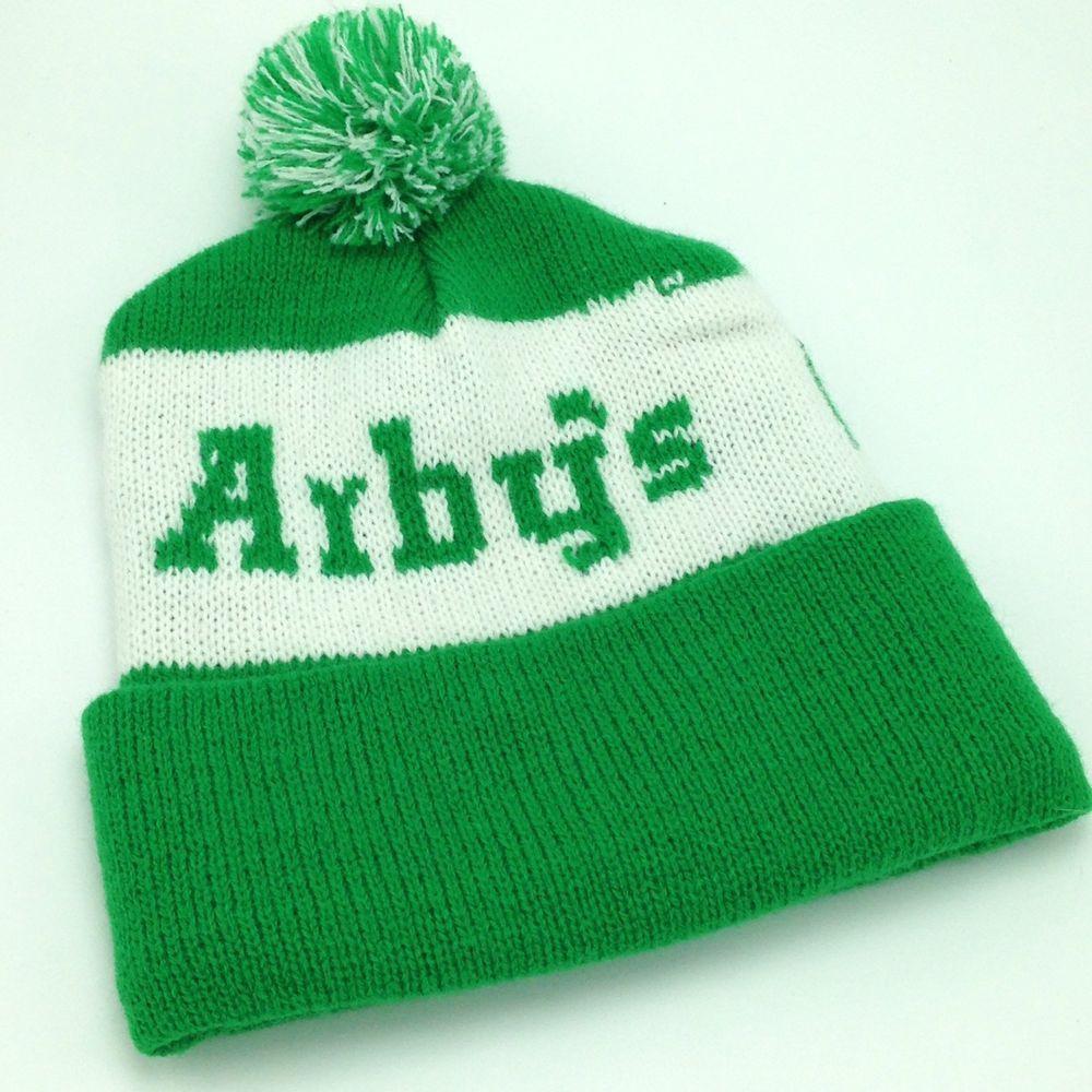 3e92a8aba4d5c8 Arby's Go State Green Knit Stocking Cap Hat Pom Pom Beanie Toque St  Patricks Day #Beanie
