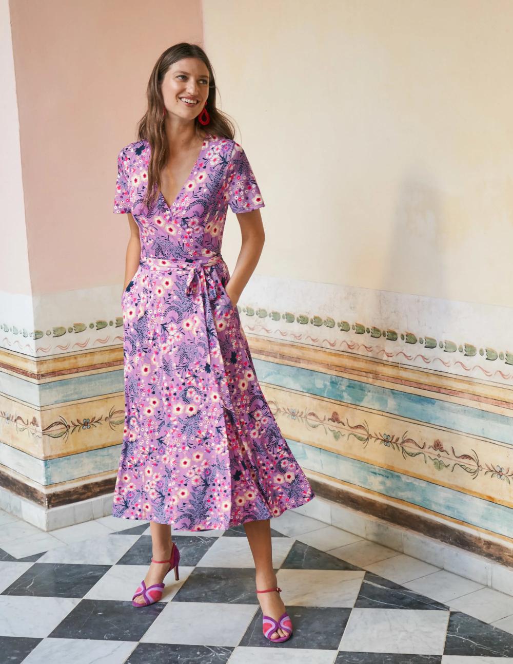 Cassia Jersey Midi Dress Lupin Wild Field Midi Dress Navy Midi Dress Wrap Around Dress [ 1293 x 1000 Pixel ]