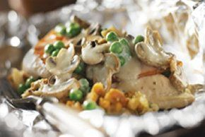 Chicken and mushrooms in foil   - camping -