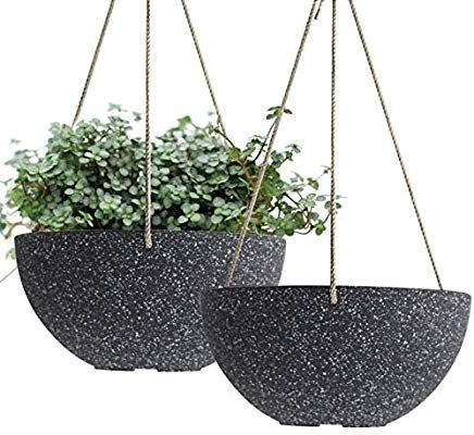 Amazon.com: Hanging Planters Wall Resin Planter - UV Resin Self-Watering Self-Aerating Planter with Drainage, 9.8 Inch Planter, Indoor Outdoor Flower Plant Pot, Modern Speckled-Black Pot Pack 2: Garden & Outdoor #flowerpot