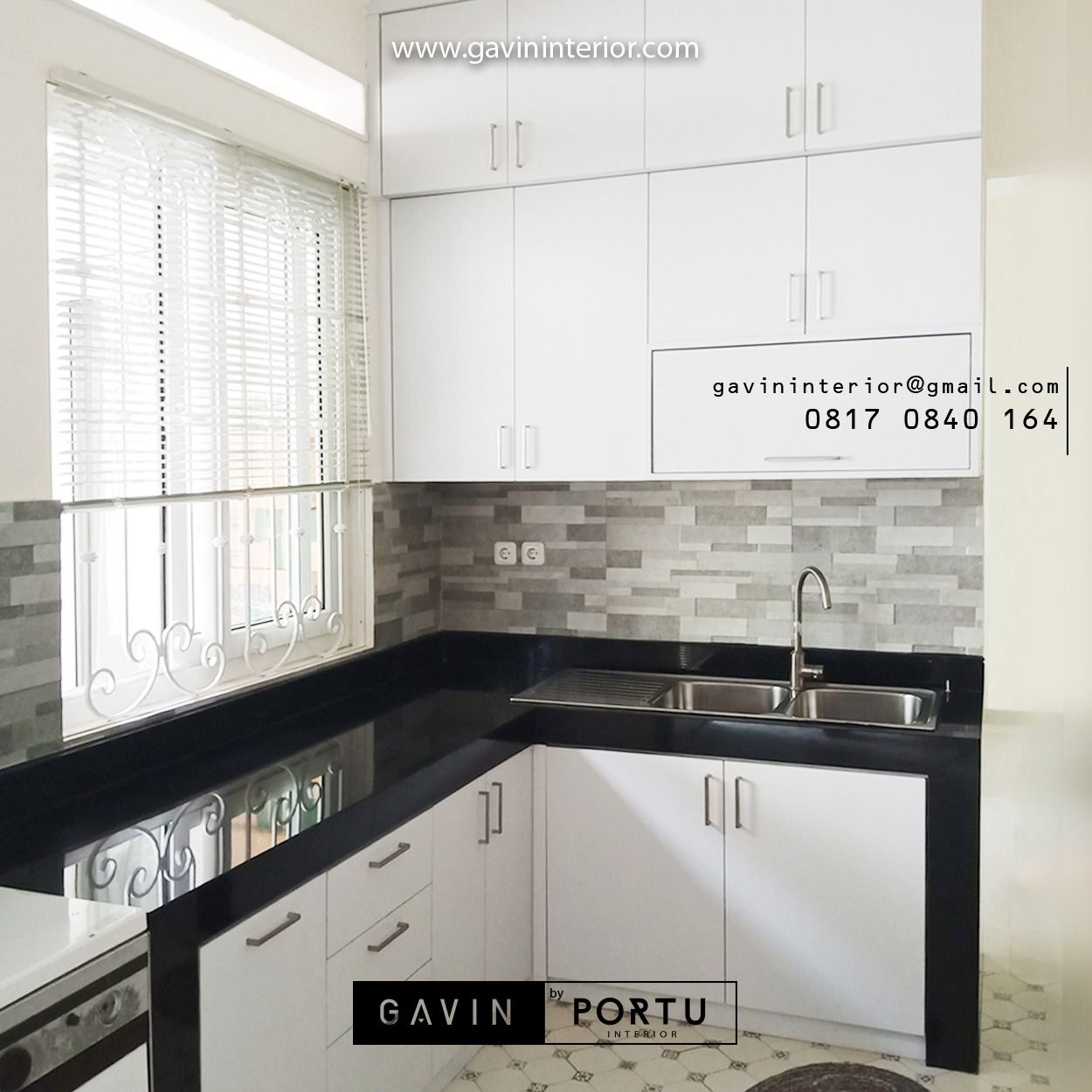 Review tentang kitchen set letter l minimalis modern terbaru finishing hpl putih dengan granit hitam