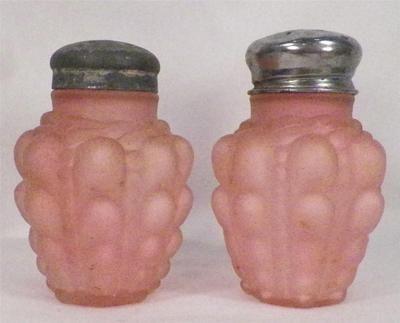 Antique Guttate Pink Satin Glass Salt Pepper Shakers 1894 1900 Beautiful